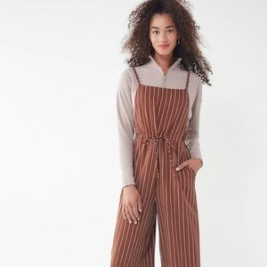 UO Striped Square-Neck Jumpsuit Brown XSmall